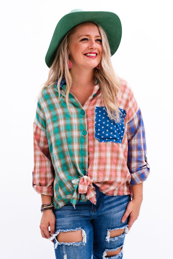 Plaid Patchwork Tie Front Top [Jade]