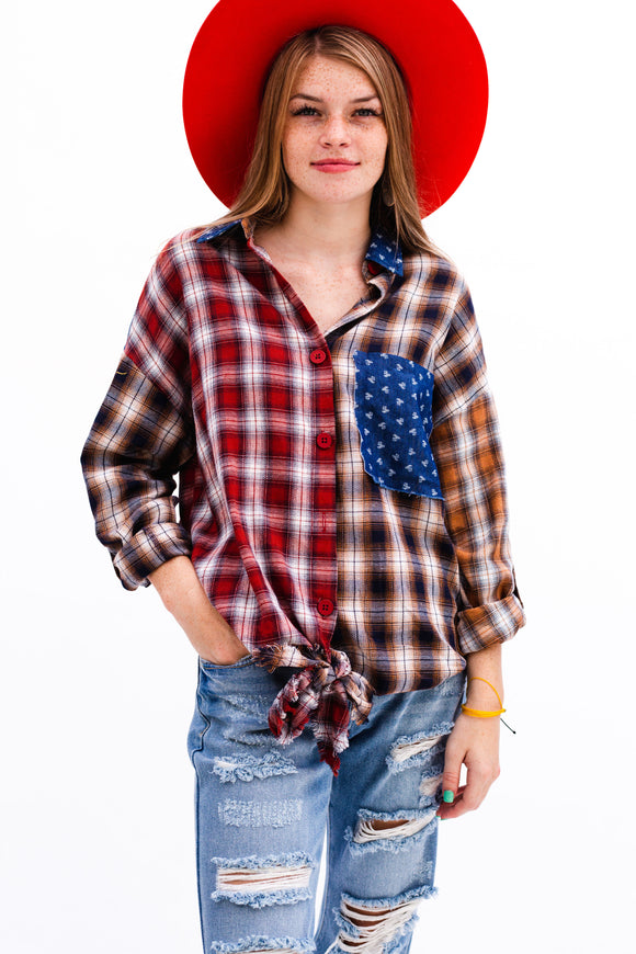 Plaid Patchwork Tie Front Top [Red]