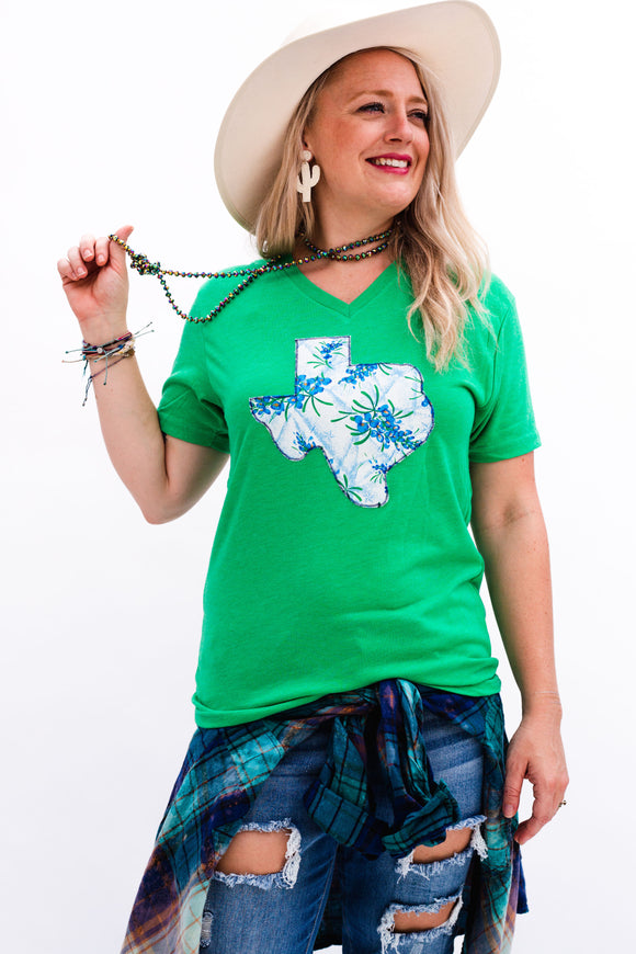 Painted Bluebonnet V Neck Tee [Green]