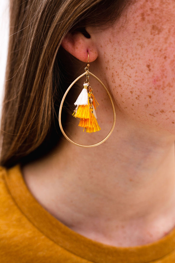 Sweet Tear Drop Tassel Earrings [Yellow Mix]