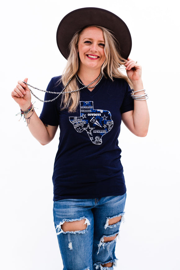 Dallas Cowboys Pennant Vneck Tee