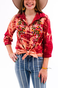 Last Call Barstow Embroidered Bleached Button-Up Top
