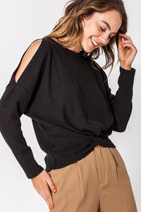 Last Call Kerville Knot Front Sweater [Black]