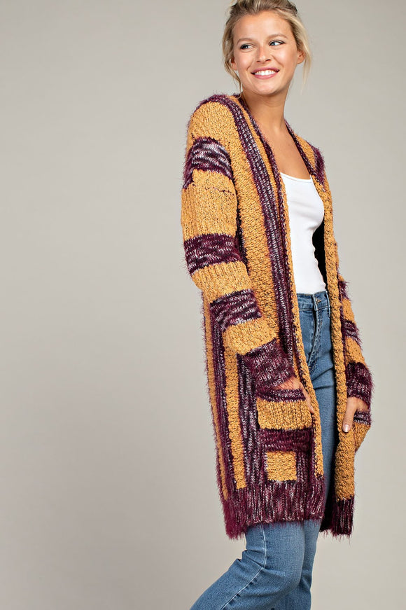 Lampasas Long Stripe Cardigan