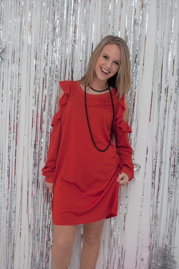 Red Cold Shoulder Ruffle Dress