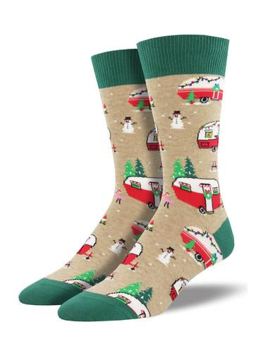 Christmas Camper Men's Socks [Wheat]