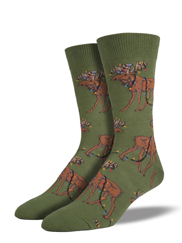 Christmas Moose Men's Socks