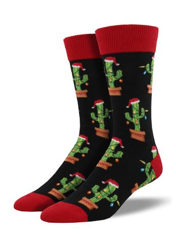 Last Call Christmas Cactus Men's Socks