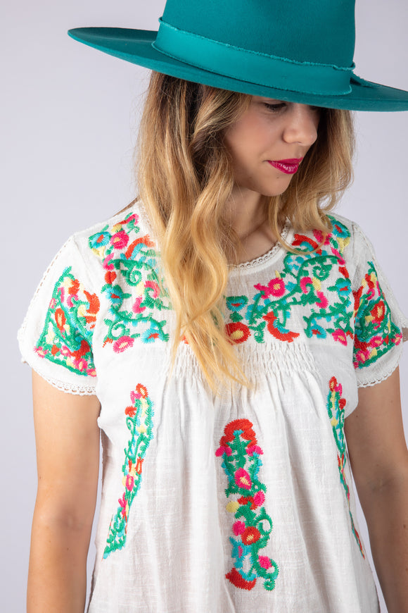 Sweet Guadalupe Embroidered Floral Top