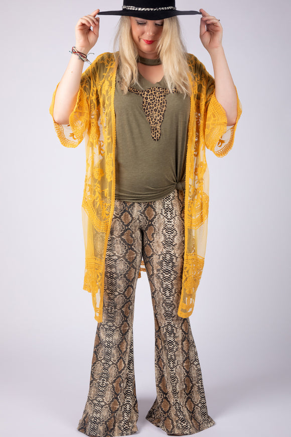 Last Call She-Serpent Snakeskin Flare Pants