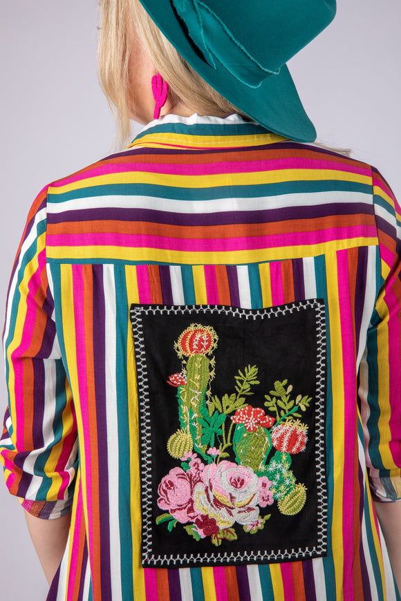 Cactus Queen Embroidered Back Button Up Top
