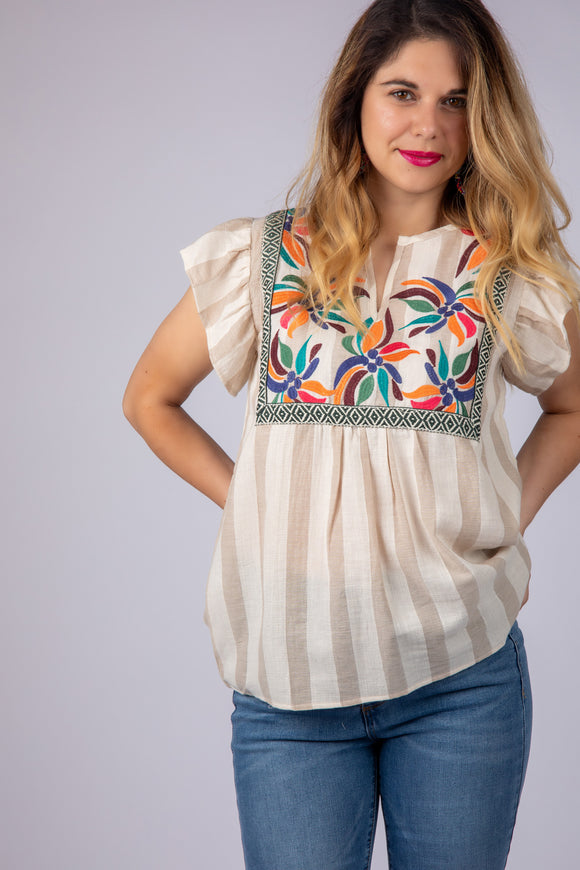 Last Call Emmett Embroidered Striped Top [Tan]