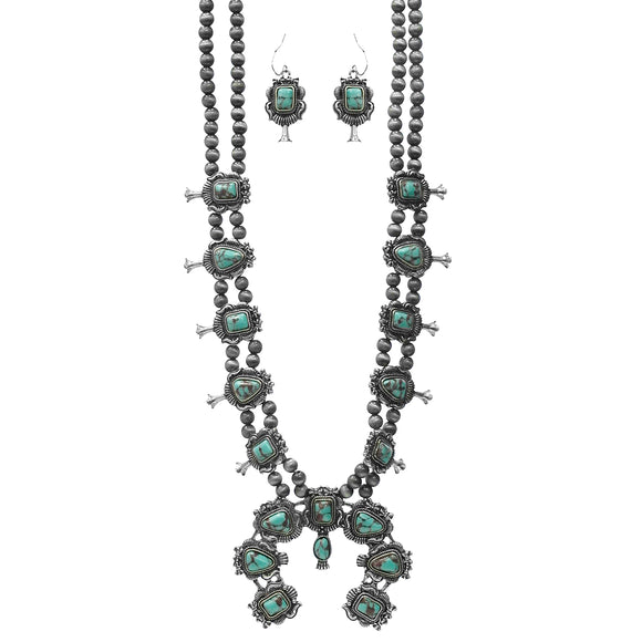 Last Call Tocho Turquoise Squash Blossom Necklace Set