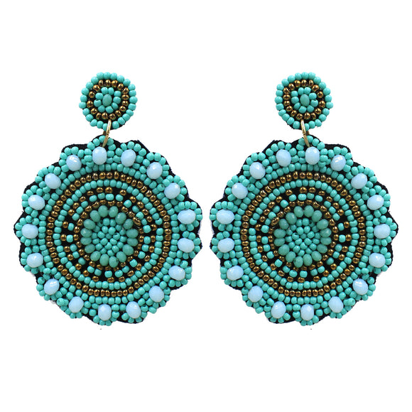 Turquoise Seed Bead Medallion Earrings