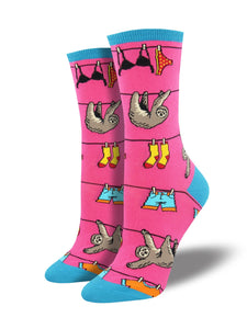 Sloth on a Clothesline Women's Socks [Pink]