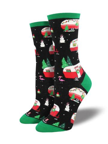 Christmas Camper Women's Socks [Black]