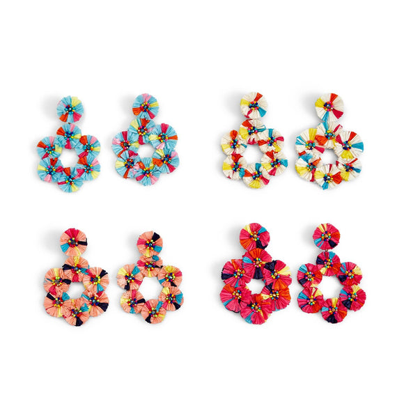 Beaded Raffia Flower Earrings [4 Colors]