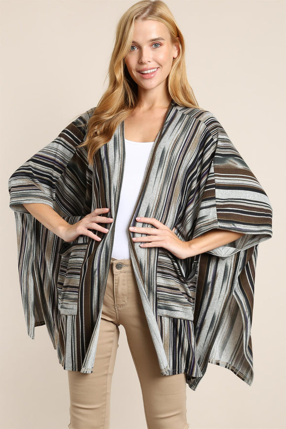 Sandy Oaks Striped Cardigan [Black]