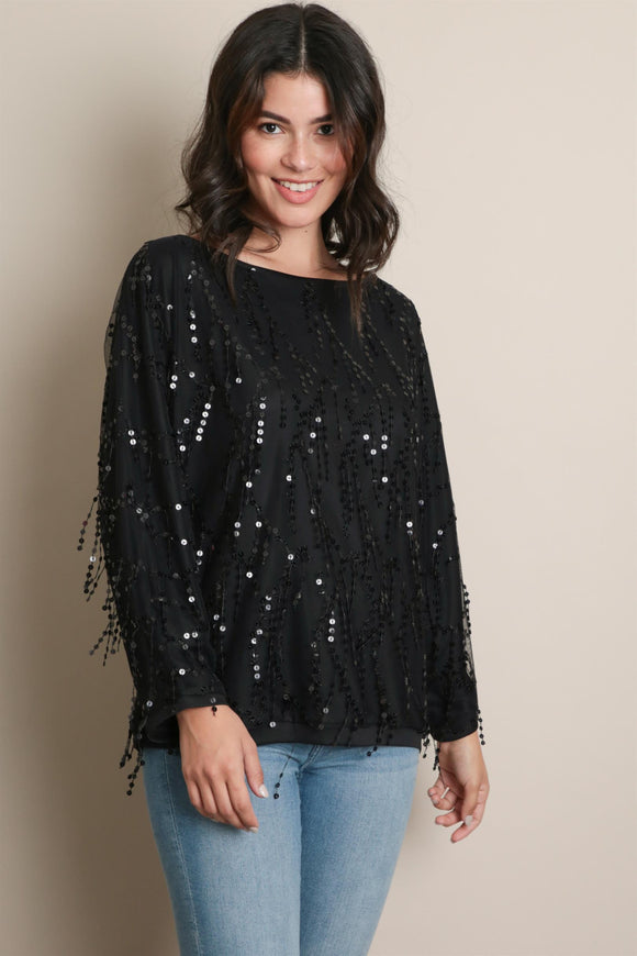 Sundown Sequined Fringe Top