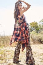 Ellie Embroidered Bleached Plaid Vest