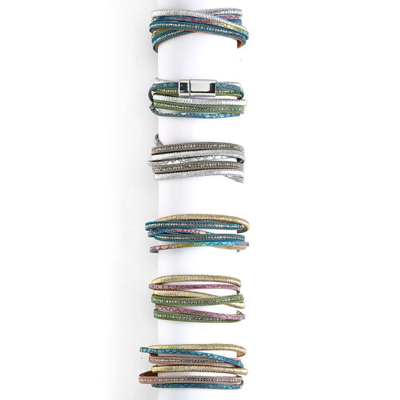 Crystal Metallic Magnetic Wrap Bracelet