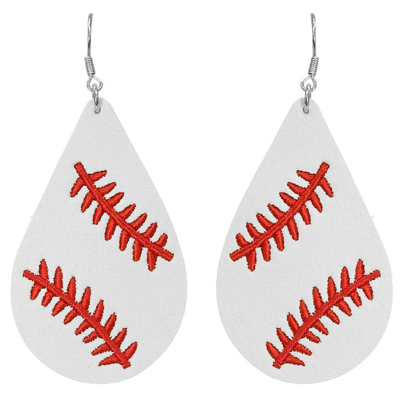 Embroidered Baseball Teardrop Earrings