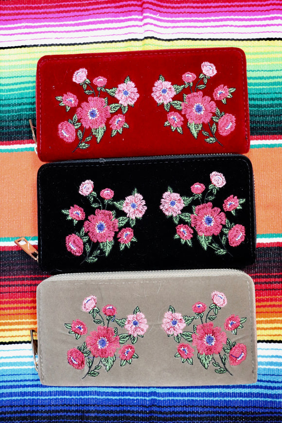 Velvet Floral Embroidered Wallet