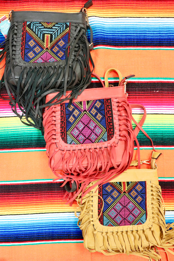 Festive Fabric Fringe Shoulder Bag