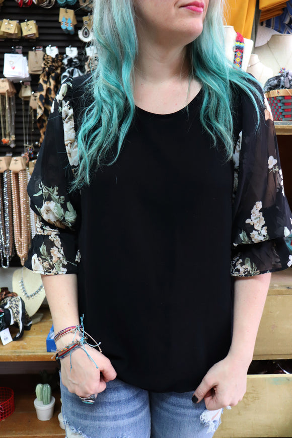 Felicity Floral Print Sleeve Top