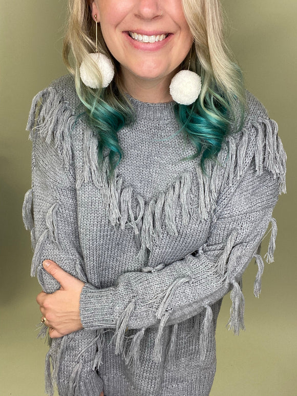 Fall Fever Fringe Sweater [Grey]