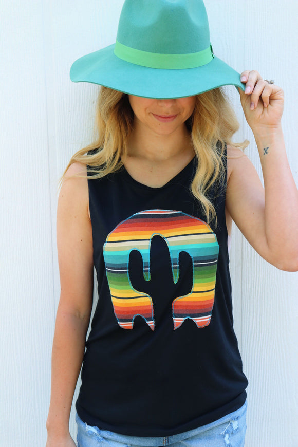 Playa Serape Black Tank