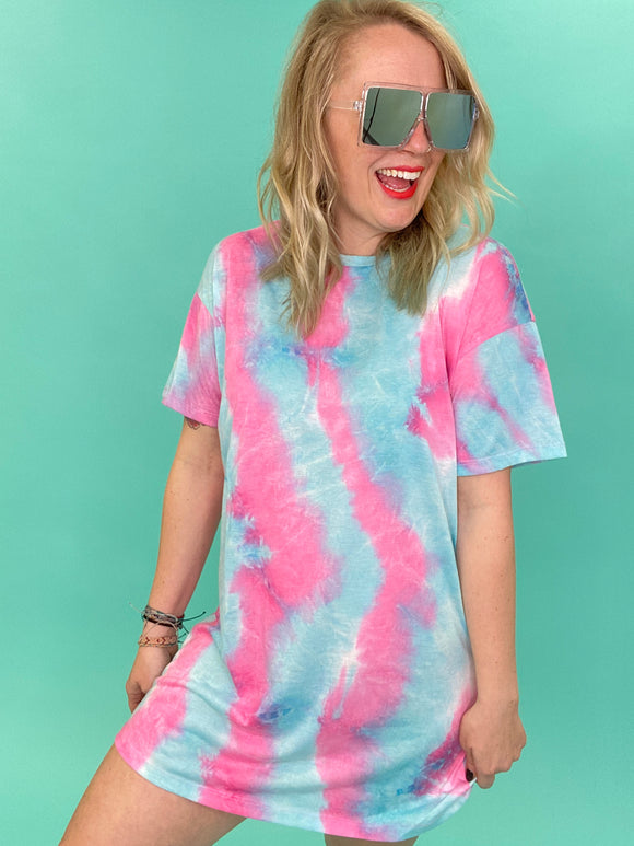 Townie Tie Dye T-shirt Dress [Pink]