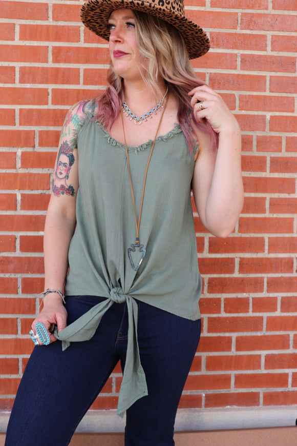 Firefly Frayed Knot Top [Olive]