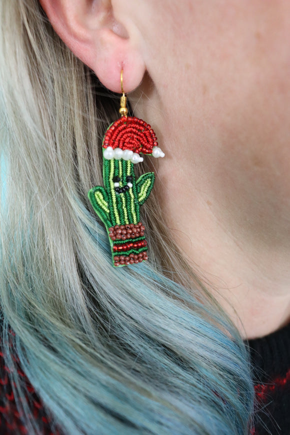 Holly Jolly Cactus Earrings