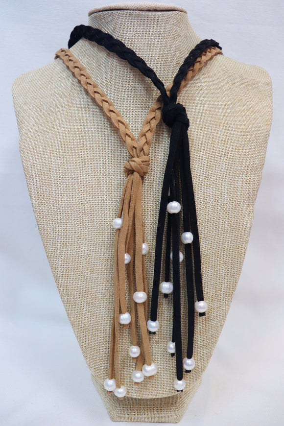Braided Leather Pearl Necklace [2 Colors]