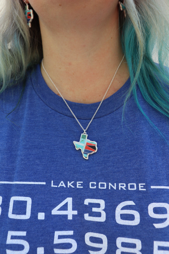 Texas Map Pendant Necklace Set [Turquoise]