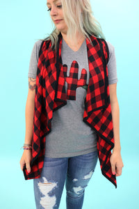 Queen Size Buffalo Plaid Waterfall Vest
