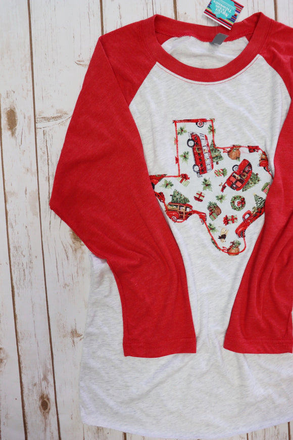 Christmas Truck Red Baseball Tee
