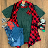 Buffalo Plaid Key Hole Tee