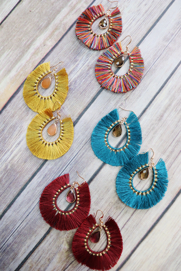 Sangria Fringe Earrings [4 Colors]