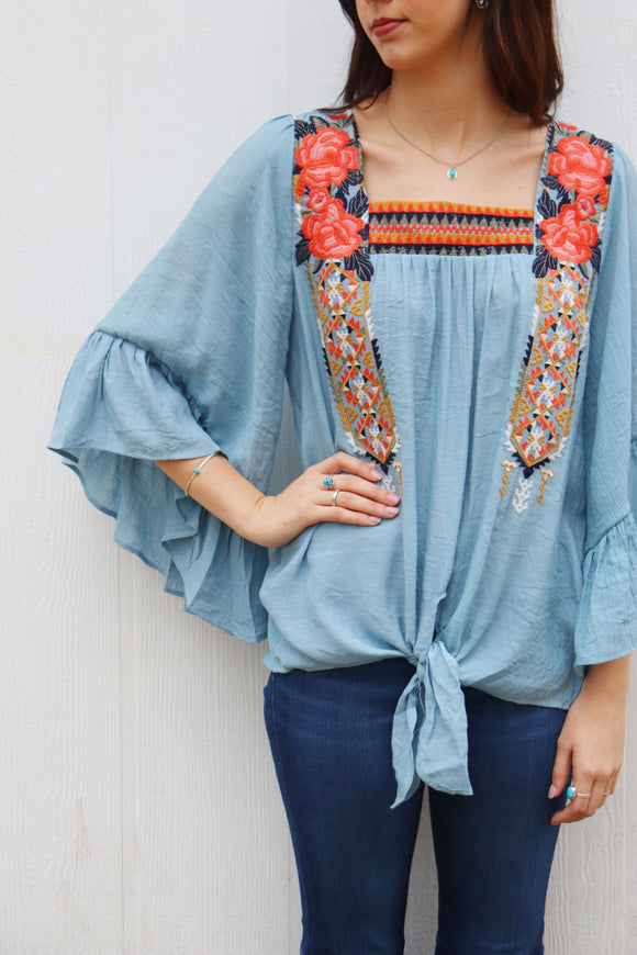 Helotes Bell Sleeve Top [Dusty Blue]