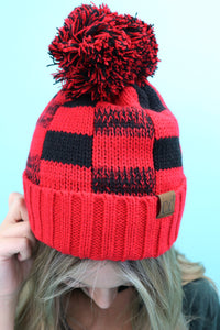 Buffalo Plaid Sherpa Beanie