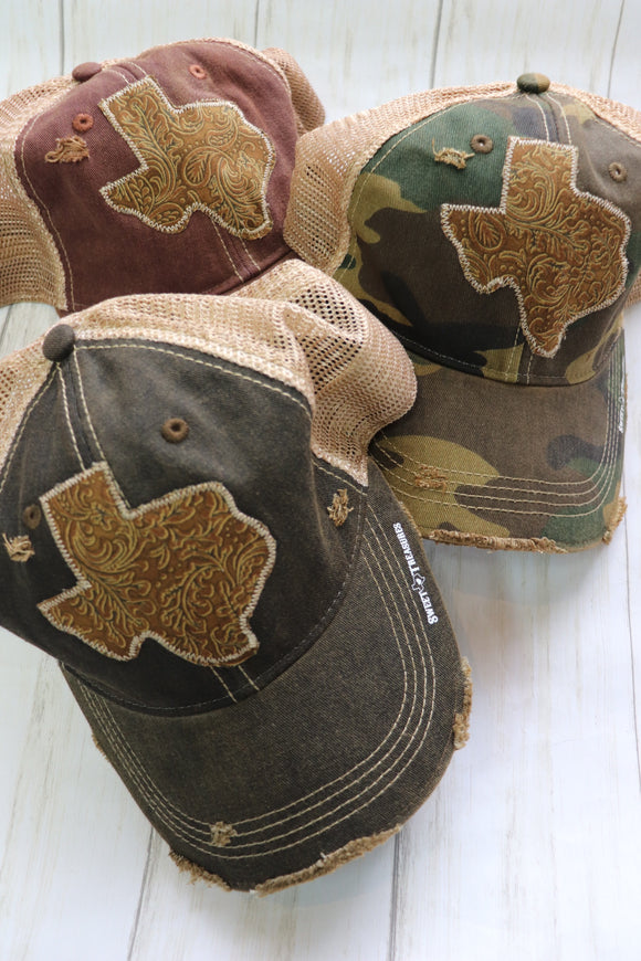 Tooled Leather Dirty Trucker Hat