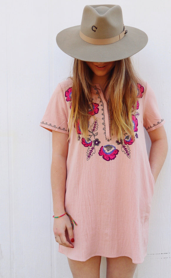Portland Peach Embroidered Dress