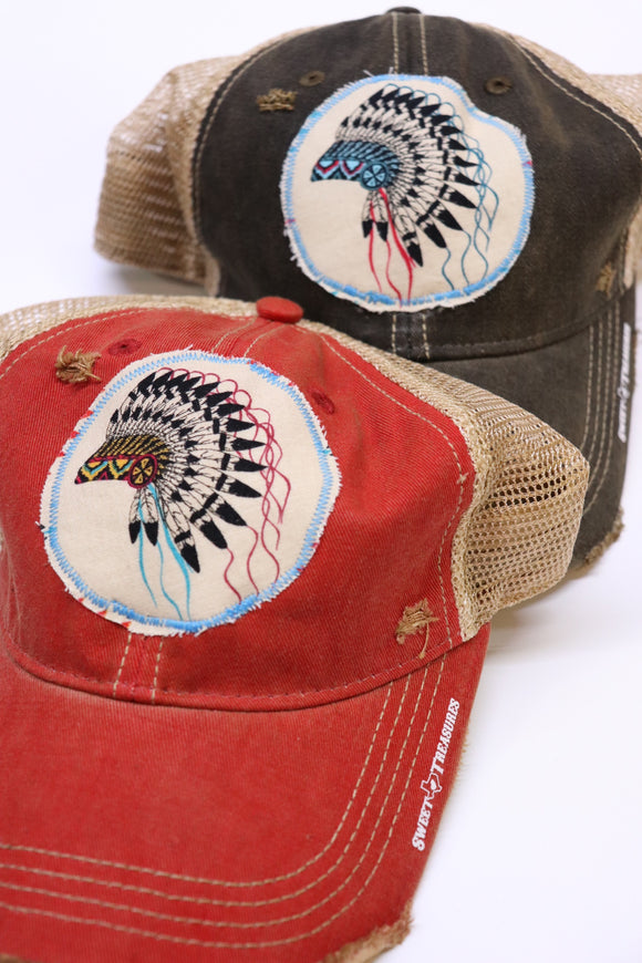 Indian Chief Headdress Dirty Trucker Hat