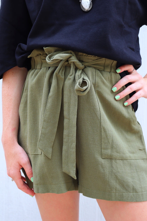 Last Call Mexia Paper Bag Belted Shorts