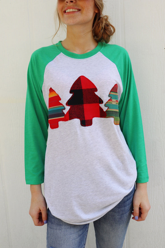 Christmas Tree Trifecta Raglan Tee [Green/White]