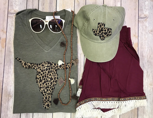 Leopard Olive Tee