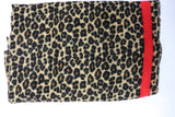 Leopard Scarf With Red Striped Detail