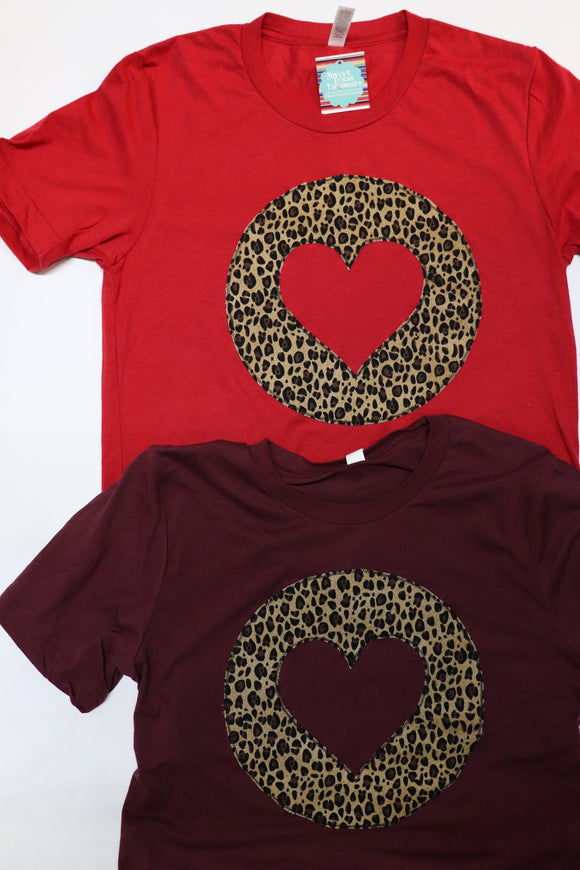 Leopard Heart Horizon Crew Neck Tee